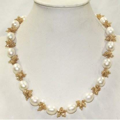Pearl and Taupe Crystal Necklace from Spain
