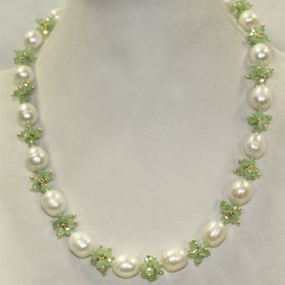 Pearl and Green Crystal Necklace