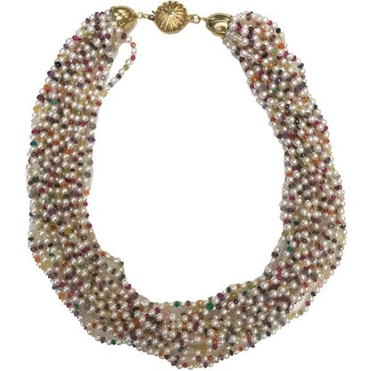 Japanese Pearl and Colored Mineral Necklace