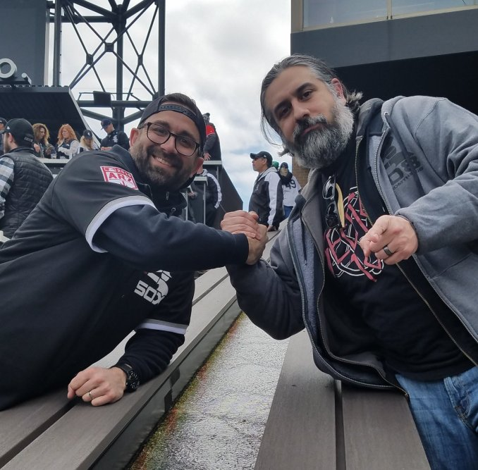 TJ Annerino of Goose Island and Chorizy-E of FromThe108 at Guaranteed Rate Field Goose Island/Section 108