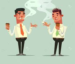 Two Workers Friend Drinking Coffee And Smoke Cigarette. Coffee.. Royalty  Free Cliparts, Vectors, And Stock Illustration. Image 90065562.