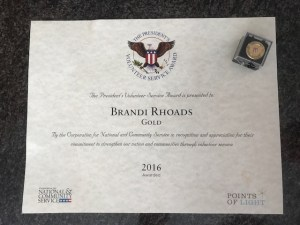 Gold President's Volunteer Service Award 2016