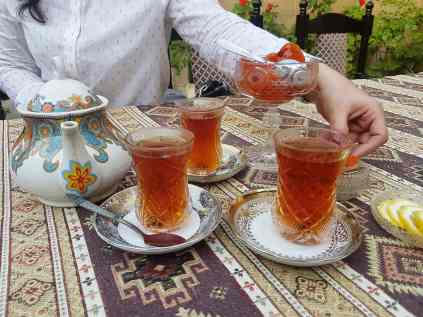 Refresh yourself with a glass of Azeri tea and some apricot jam.