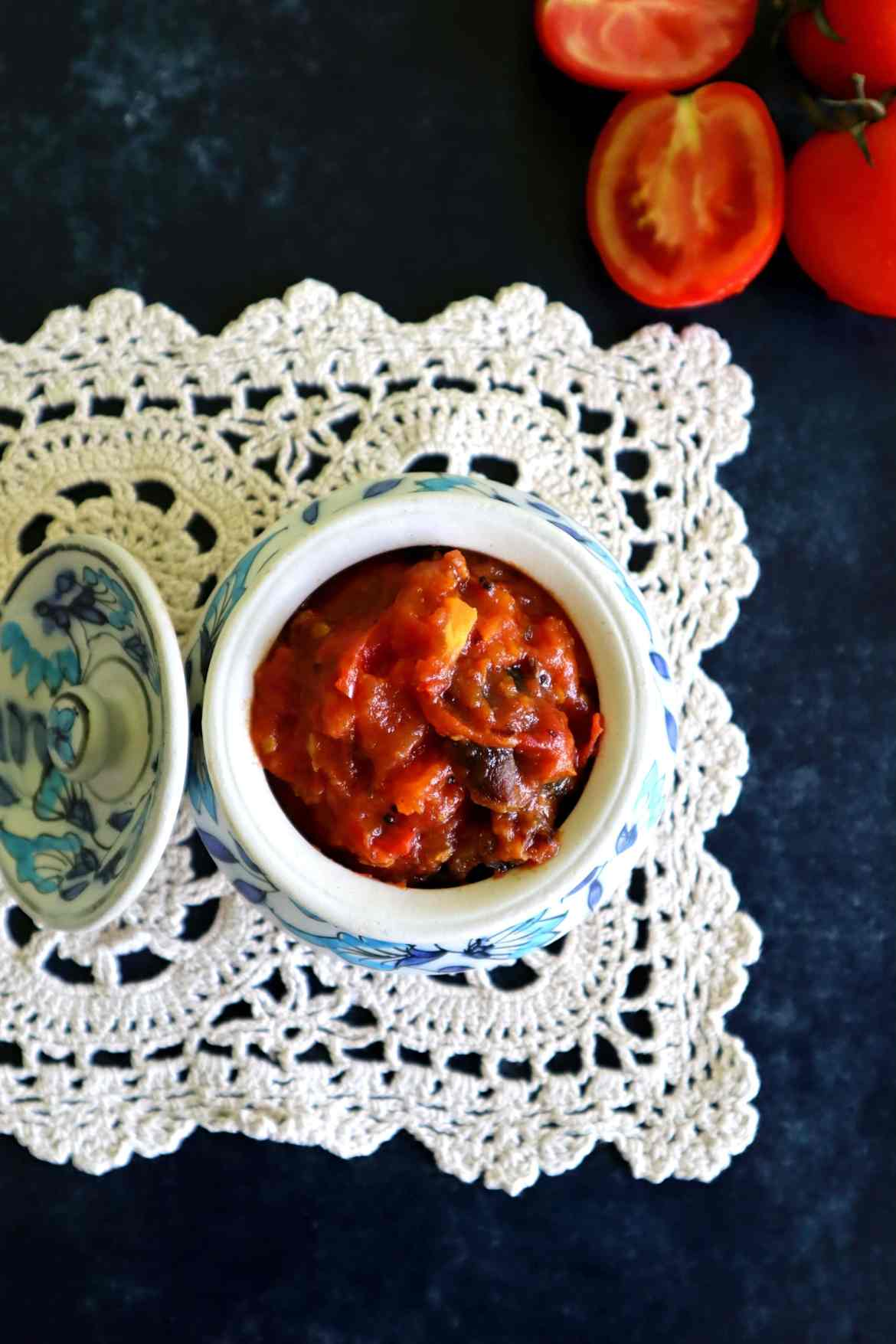 fromthecornertable, from the corner table, bengalifood, bengalirecipes, indianfood, tomato chutney