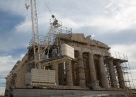 Cranes and scaffolds around the Parthenon