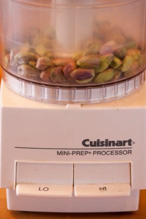 Grinding the pistachios