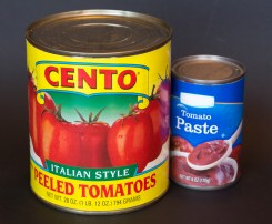Canned tomatoes and tomato paste