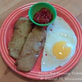 Fried egg, scrapple and ketchup