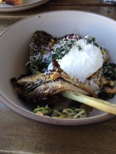 Charred chicory salad with Parmesan-dusted poached egg