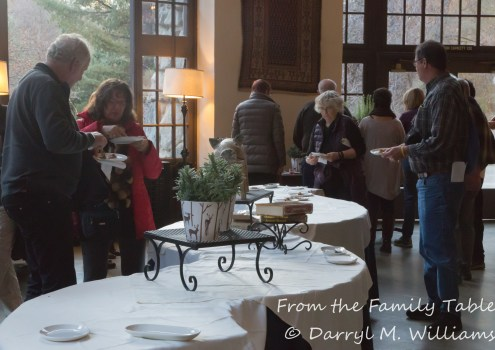 Participants sampling offerings from the cooking demonstration, Ahwahnee Hotel