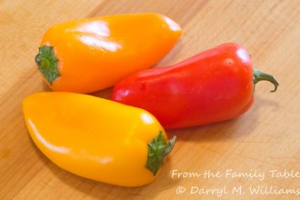 Red, orange, and yellow miniature bell (snacking) peppers