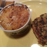 Santa Fe style coquilles St Jacques with grits cake