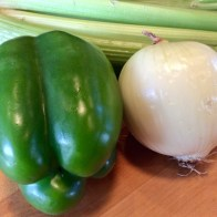 "The Cajun ""Holy Trinity"": onions, celery, and bell peppers"