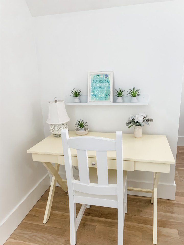 yellow desk with green flowers