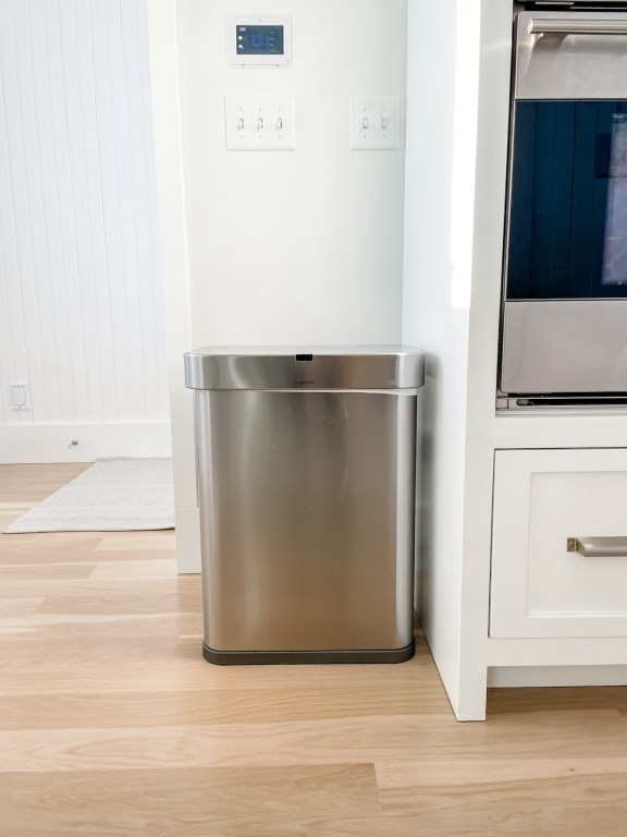 The SimpleHuman 58L Rectangular Sensor Can with voice and motion control.