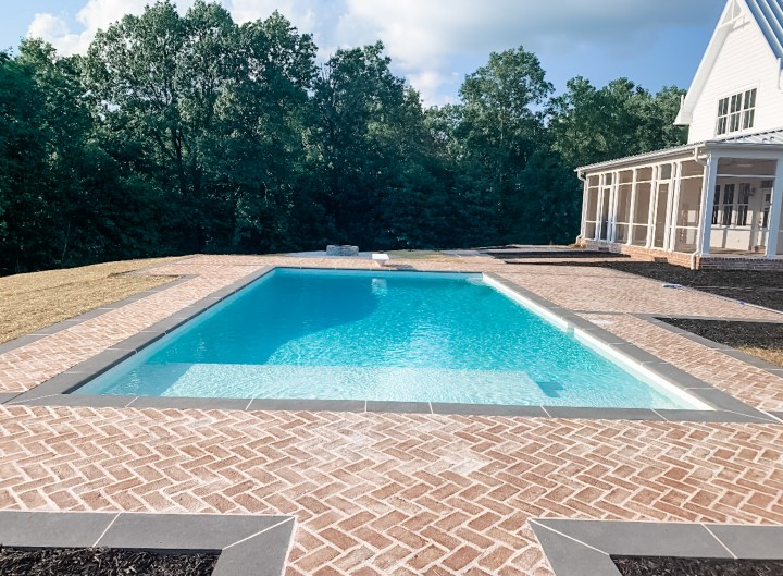 large blue swimming pool