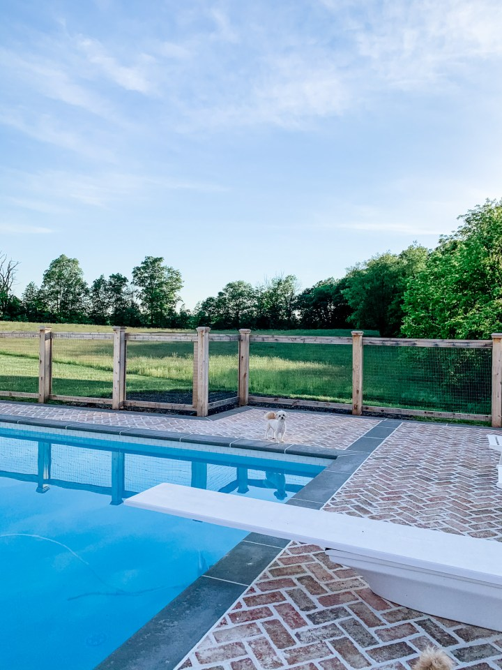 in-ground pool with a diving board