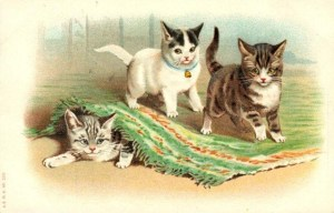 vintage-cat-clip-art-three-playful-kittens-under-rug