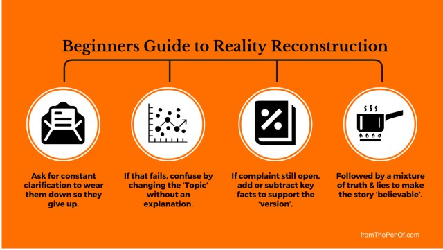 reality reconstruction is the red flag professional behaviours of misdirectiin and deception, minimisation and exaggeration