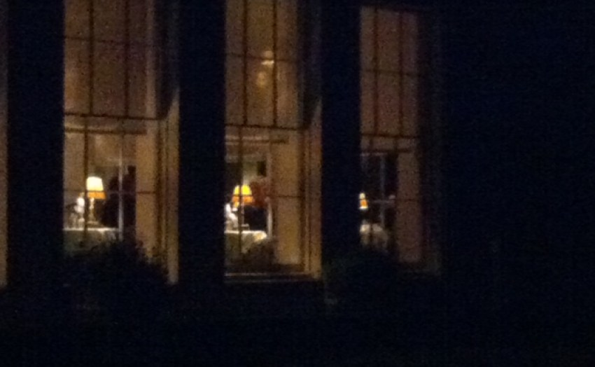 Babington house at night