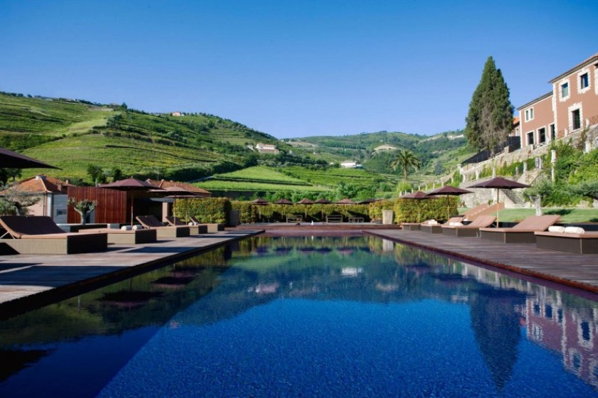 Six Senses, five star luxury hotel in the Douro Valley, Portugal. View of the outdoor pool.  78 rooms. They have bought what used to be Aquapura, a design hotel. Curious to see how they're going to change it.