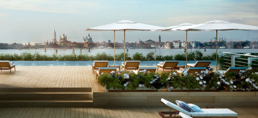 JK Marriot resort in Venice. New hotel opening in March with a spa with indoor and outdoor pool, a rarity in Venice. You are in a separate island but can quickly go to the main tourist areas via boat.
