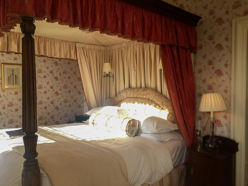 Lucknam Park, five star luxury hotel near Bath. Four poster bed. Very romantic!