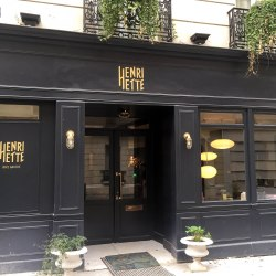 Hotel Henriette, Paris. The facade in navy blue.