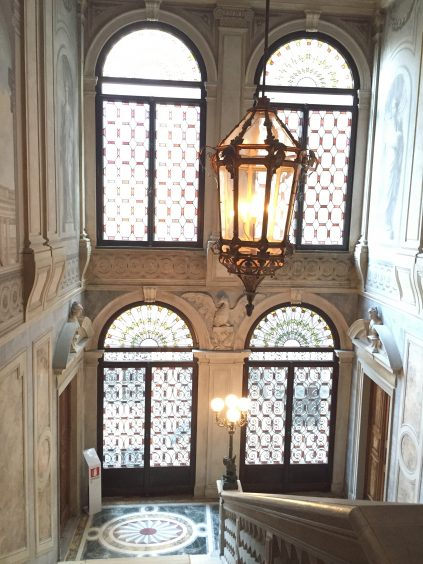 Aman Venice, the magnificient staircase from the lobby to the first floor.