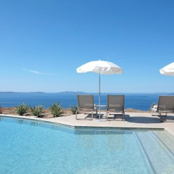 The pool by the sea at Villa Douce, a family hotel on the cote d'azur.