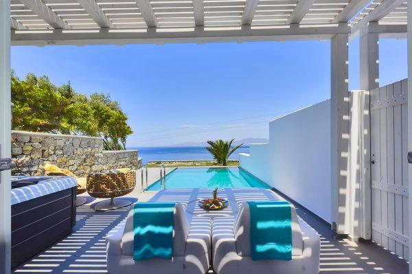 Myconian Korali, a luxury hotel in Mykonos. Hotel with pool.