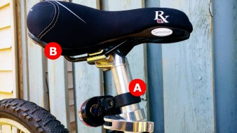A) Seat post: inserts into the seat tube and allows the rider to adjust the height of their saddle. B) Saddle: often called a seat, but this is where your bum sits, and there's a ton of styles to choose from. Saddles sit on rails that you can move forward and backwards to adjust your sitting angle in relation to the handlebars. The saddle is one of the 5 points of contact on your bike.