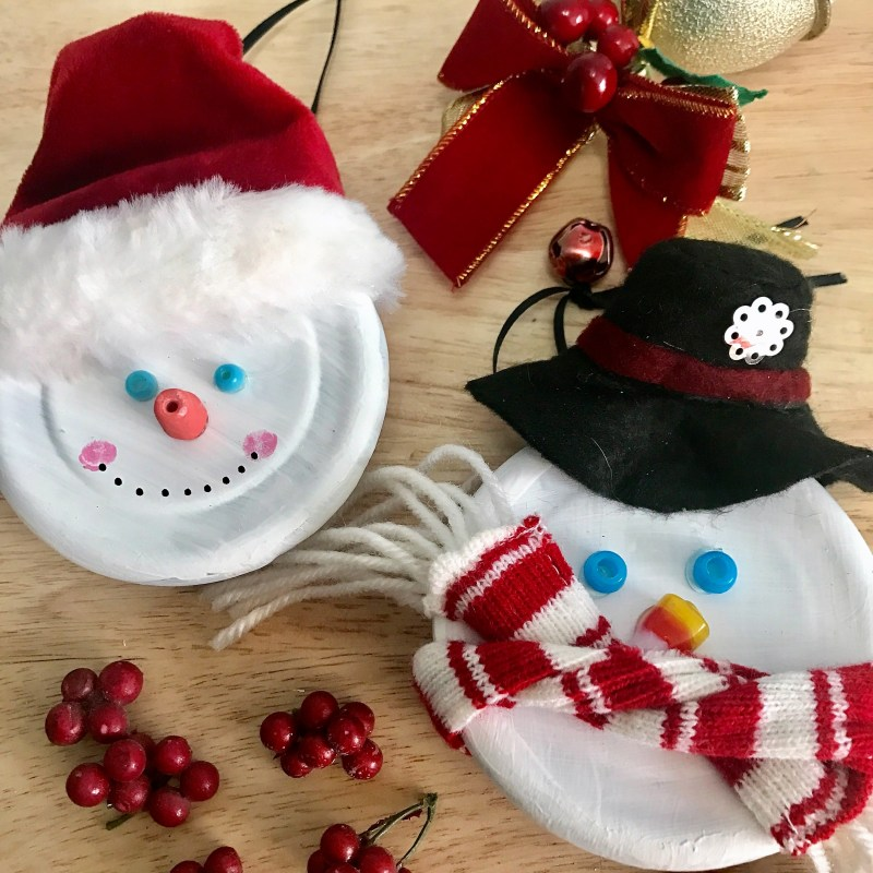 DIY Snowman Candle Jar Lid Ornaments by From Under a Palm Tree