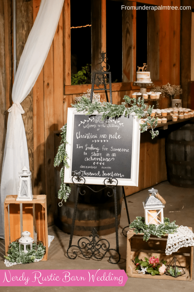 Nerdy Rustic Barn Wedding | Old McMickey's Farm | bow tie | Lord of the rings quote | Welcome sign | Wooden Bow Tie | The Barn at Crescent Lake | Bride | Harry Potter Sand Ceremony | Unity Ceremony | Sherri Hill | Wedding Dress | Ceremony | Burgundy | Cranberry | pink | gold | woodsy | eucalyptus | wedding invitation | woodland invitation | pine trees | Table Centerpiece | Reception | Wedding | Rustic Wedding | Woodland Wedding | Old McMickey's Farm | The Barn at Crescent Lake | wedding ideas | Centerpieces | Lavender Toss | Lavender Send Off | Decorations | Wood slices | Nerdy wedding | Rustic | Big Day | Harry Potter | Supernatural | Starwars | Lord of The Rings | Doctor Who | outdoor | barn wedding | Barn bride |