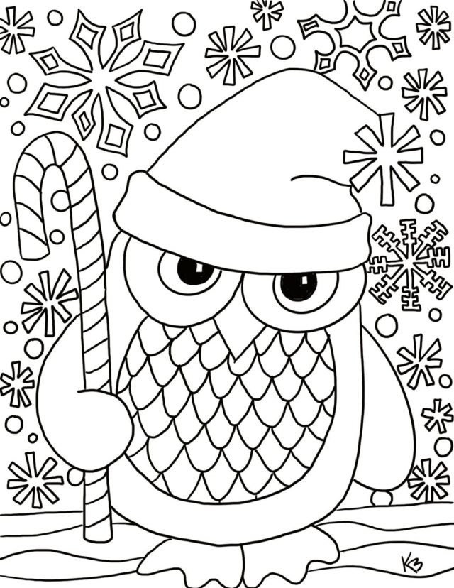 Santa Owl coloring page – From Victory Road