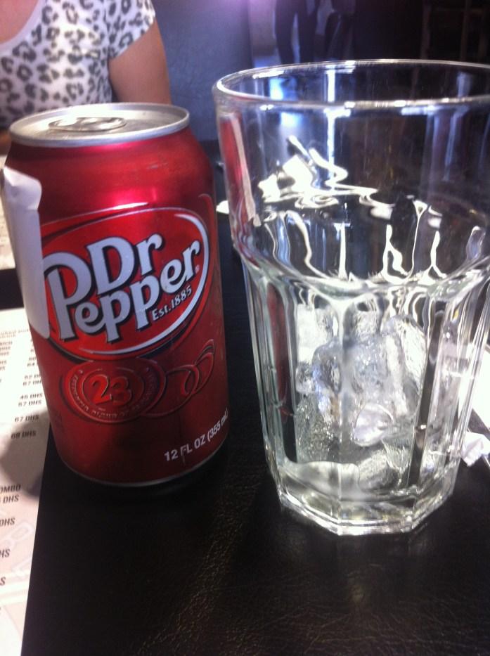 Poutine. Dr Pepper Soda