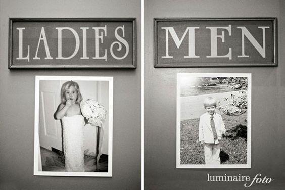 Wedding Decor Restroom Signs Kid Photos Bride Groom