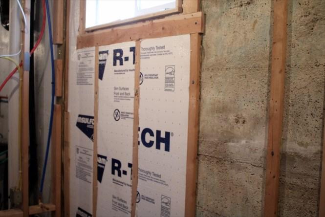 Exterior bathroom wall rigid insulation