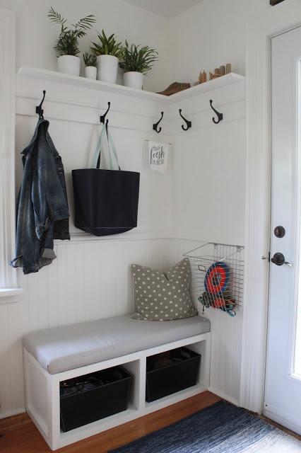 Back Porch Corner Bench, Shelving and Hooks - ModernJane