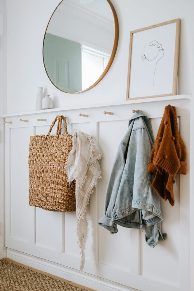 Small Entryway Board and Batten Wall with Hooks and Narrow Shelf - White Picket Farmhouse