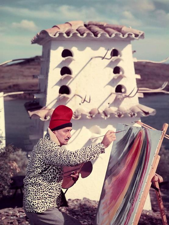 Art and Fashion Salvador Dalí Photograph Painting on Roof