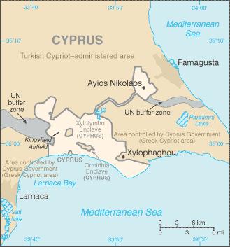 Mapa de Dhekelia