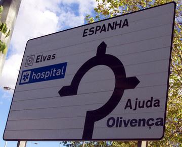 Señal portuguesa cerca de Olivenza