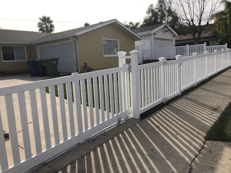 Closed Top Picket Fence With Sliding Gate