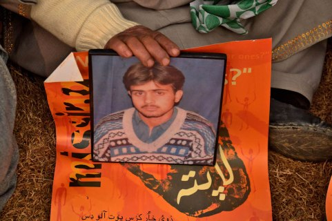 A relative holds a photograph of a Kashmiri Muslim disappeared person during a sit-in-protest Organized by Association of Parents of Disappeared Persons on occasion of International Human Rights Day in Srinagar, Indian administered Kashmir. The APDP says that more than 8,000 people have gone missing, most of them after being arrested by Indian security forces in the troubled Kashmir region since a separatist rebellion against Indian rule broke out at the end of 1989. But authorities deny the allegations and say their investigations have revealed that most of the missing people have crossed the heavily militarised Line of Control, which separates India and Pakistan, into Pakistani Kashmir for arms training.