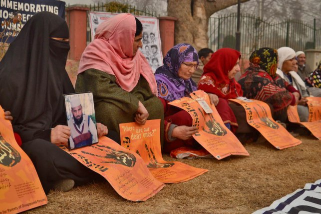 Relatives of missing persons attend a demonstration Organized by Association of Parents of Disappeared Persons on occasion of International Human Rights Day in Srinagar, Indian administered Kashmir. The APDP says that more than 8,000 people have gone missing, most of them after being arrested by Indian security forces in the troubled Kashmir region since a separatist rebellion against Indian rule broke out at the end of 1989. But authorities deny the allegations and say their investigations have revealed that most of the missing people have crossed the heavily militarised Line of Control, which separates India and Pakistan, into Pakistani Kashmir for arms training.