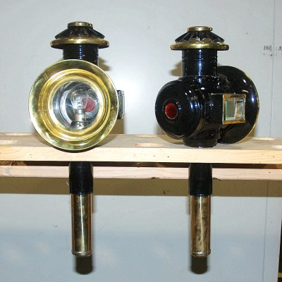 black & brass pony size carriage lamps