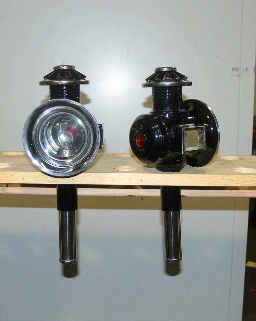 Pair pony size black-stainless carriage lamps 12 volt