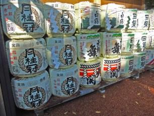 Sake kegs in Hiroshima.