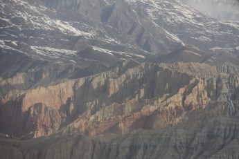 Flying over the rugged terrain of Mustang